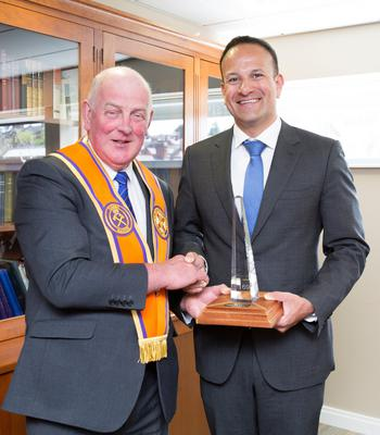Orange Order grand master Edward Stevenson and Taoiseach Leo Varadkar