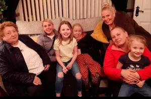 Carol and her mum with Carol's grandmother Leona Hughes, her daughter Stacey Palmer, sister Gail Peters, and two grandchildren