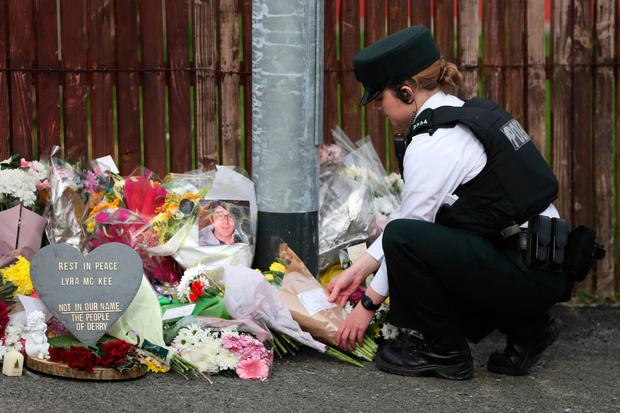Flowers left at the scene where Lyra McKee was shot in Londonderry