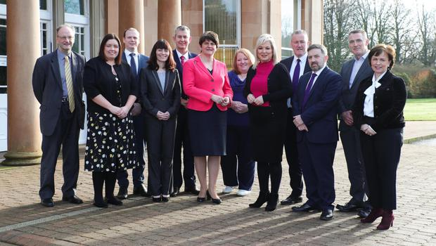 Executive ministers Peter Weir, Deirdre Hargey, Gordon Lyons, Nichola Mallon, Edwin Poots, Arlene Foster, Naomi Long, Michelle O'Neill, Conor Murphy, Robin Swann, Declan Kearney and Diane Dodds at Greenmount Agricultural College, where they held a special meeting