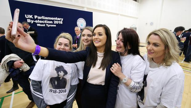 Sinn Fein's new MP Orfhlaith Begley at the count centre in Omagh Leisure Centre with party colleagues
