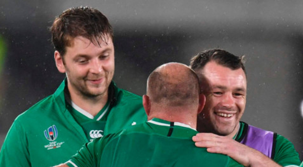 Rory Best with Cian Healy and Iain Henderson