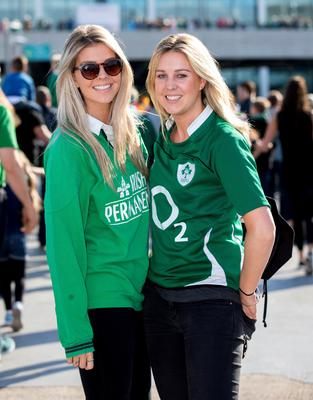 Ireland rugby fans Emma and Kate Swift enjoy themselves at Wembley yesterday