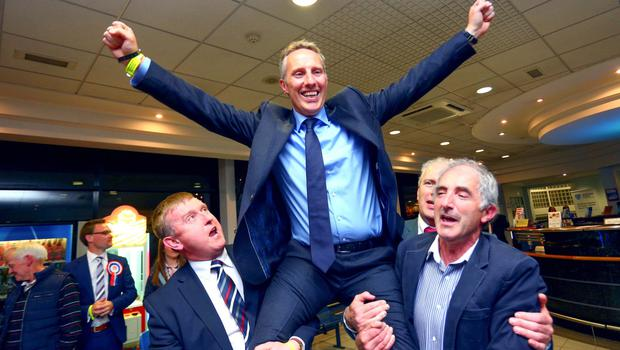 Ian Paisley at the Seven Towers Leisure Centre in Ballymena after retaining his seat in the 2015 general election