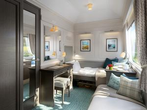 A spacious bedroom on the train