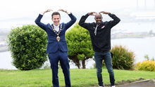 The bot: Mid and East Antrim Borough Mayor Peter Johnston with Sir Mo Farah in Larne