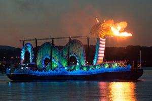 A mechanical fire-breathing River Foyle monster during The Return of Colmcille event as part of UK City of Culture celebrations in 2013