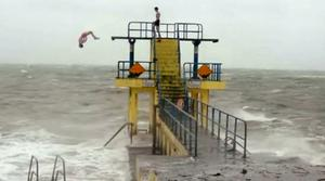 Two youths dive into the sea at Salthill in a video that has been viewed online over a million times