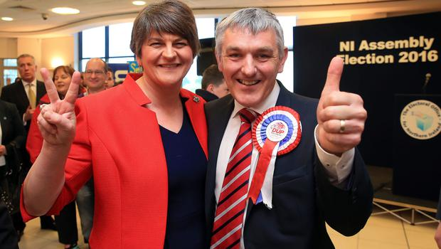 DUP leader Arlene Foster with West Tyrone candidate Tom Buchanan