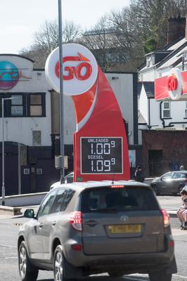 Fuel prices displayed at a petrol station in Londonderry