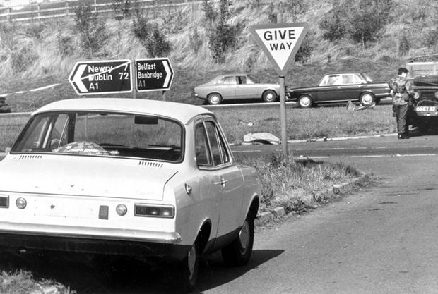 Miami Showband massacre... A Ford Escort which was one of the cars used by loyalist gunmen, is left abandoned near the murder scene. 31/7/1975