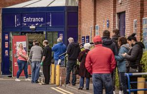 People queue outside The Range in east Belfast