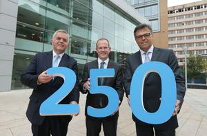 Enterprise Minister  Jonathan Bell and Invest NI Chief Executive Alastair Hamilton pictured with Intelling CEO Phil Morgan at today's announcement that the company plans to establish a contact centre in Northern Ireland, creating 250 new jobs