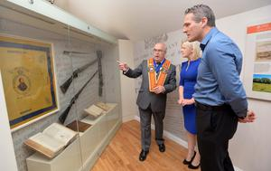 County grand master Denis Watson with former Armagh GAA star Jarlath Burns at the official opening of the new Museum of Orange Heritage in Loughgall