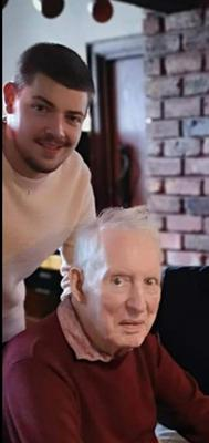 Gareth Ringland with his late grandfather Ronnie Falloon