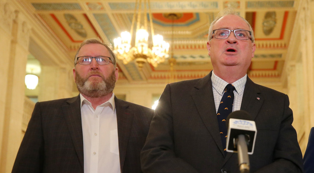 UUP leader Steve Aiken (right) and colleague Doug Beattie at Stormont yesterday