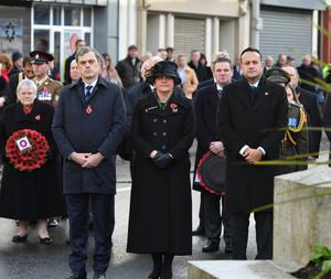 Former NI Secretary of State Julian Smith with DUP leader Arlene Foster and Taoiseach Leo Varadkar in Enniskillen for the Remembrance Sunday service in November last year