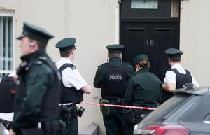 Police at scene after a man was shot at a house on Sandys Street, Newry yesterday
