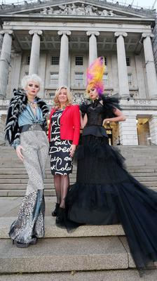 MLA Jo-Anne Dobson launches the charity fashion show at Stormont on December 3 with the help of models Sarah McDonald and Rebecca Maguire