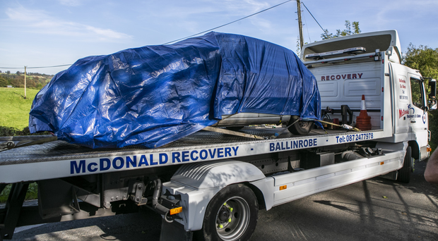 Shooting victim Brendan Kilduff's car being removed from the scene near Knock, Co Mayo