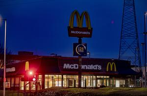 The golden arches in darkness as McDonald's Conswater in east Belfast