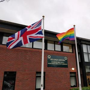 The rainbow flag flown at Army headquarters in Northern Ireland