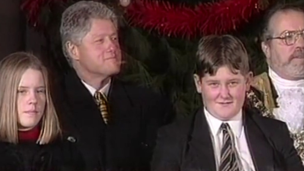 Eric Smyth on stage at Belfast City Hall with Bill Clinton in 1995