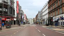 Royal Avenue in Belfast city centre shortly after the lockdown began