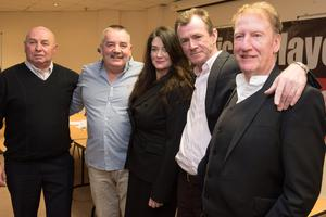 Michael Toner, Gerry Kelly, Gerry McGowan and Stephen Crumlish with their solicitor Patricia Coyle