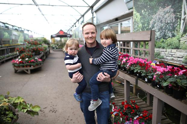 Alan Mercer from Hillmount Garden Centre with his children Jack and Olly