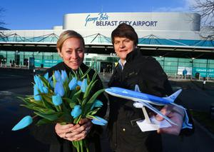 Enterprise Minister Arlene Foster and the commercial and marketing director at George Best Belfast City Airport, Katy Best