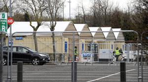 An area at the SSE Arena car park in Belfast city centre where it is believed a Covid-19 testing centre is being erected