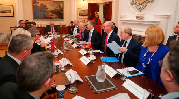 Secretary of State Julian Smith and Tanaiste Simon Coveney meet with the Northern Ireland political party leaders including Arlene Foster, Michelle O'Neill, Colum Eastwood, Stephen Farry and Steve Aiken at Stormont House yesterday