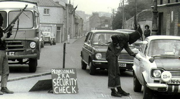 <b>Images from the Belfast Telegraph Troubles Gallery</b> IRA checkpoint, the early 1970's