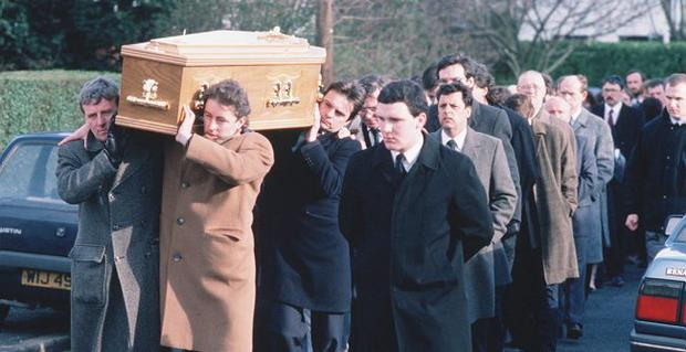 Funeral of lawyer Pat Finucane, murdered by loyalists. 1989. Pacemaker