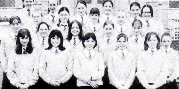 NADINE COYLE:Pop Stars Rival singer and member of girl band 'Girls Aloud',FRONT ROW SECOND FROM LEFT - THORNHILL COLLEGE YEAR BOOK 1996-97