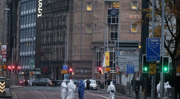 The scene at the top of Chichester Street in Belfast City Centre beside Victoria Square where a car bomb partially exploded late last night.