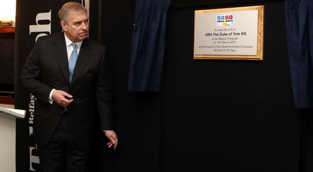 Prince Andrew unveils a plaque marking his visit to the Belfast Telegraph yesterday to launch our 50 Jobs in 50 Days campaign