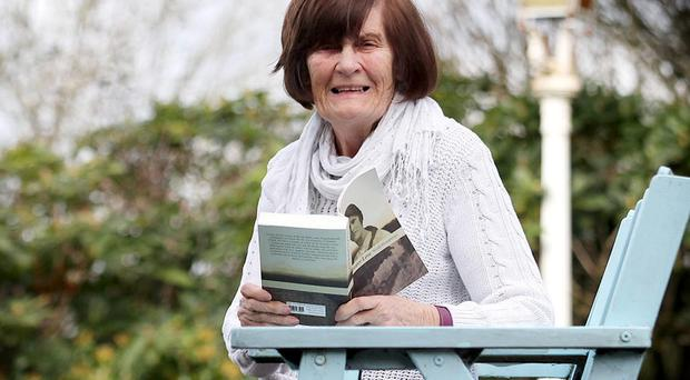 11.04.14. PICTURE BY DAVID FITZGERALD Norah Humphreys aged 79 pictured with her recently published Novel, 'No Greater Love' ahead of the launch on Friday 11th April in Lisburn.
