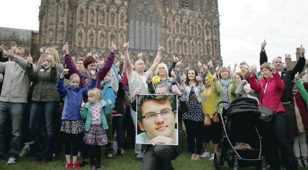 Hundreds of people take part in a celebration for the life of teenage cancer fundraiser Stephen Sutton during a vigil at Lichfield Cathedral