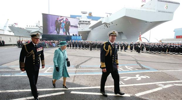 The Queen and Prince Philip arrive at Rosyth Dockyard to name HMS Queen Elizabeth