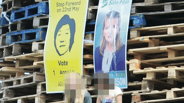 Election posters of Alliance MLA Anna Lo and Sinn Fein's MEP Martina Anderson were placed on a bonfire in the Bloomfield estate in Bangor