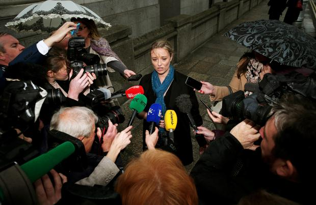 Abuse survivor Mairia Cahill speaking to the media at Government Buildings, Dublin, before her meeting with Taoiseach Enda Kenny