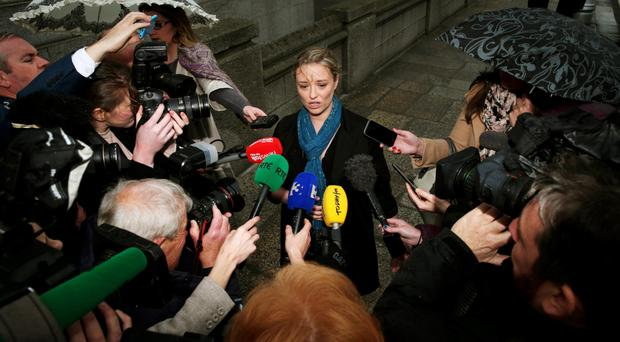 Abuse survivor Mairia Cahill speaks to the media at Government Buildings, Dublin