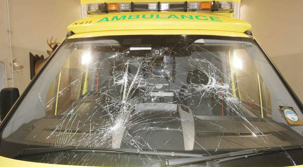 The shattered windscreen of an ambulance which was attacked by youths at Mount Street in Coleraine