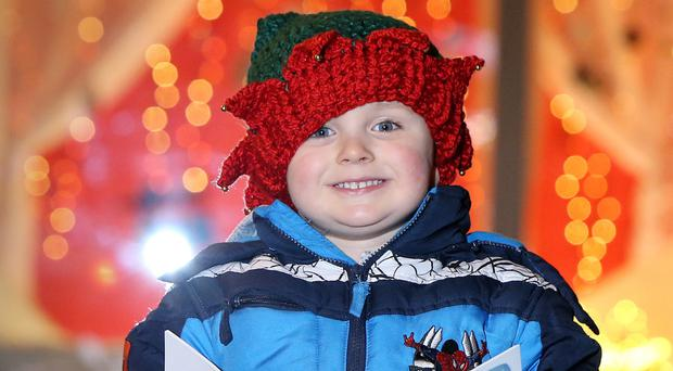 Competition winner Joshua Robinson (3) from Newtownards at the Mac last night
