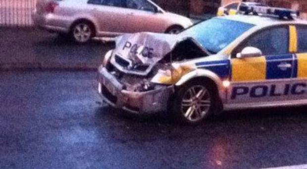 A police car damaged in an incident