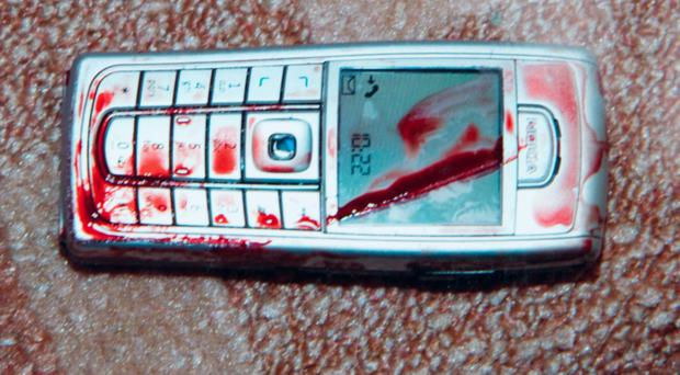 The blood-spattered mobile phone Irene Wilson used to call for help after an artery was severed during a particularly brutal assault