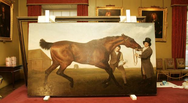 The 18th century masterpiece Hambletonian, Rubbing Down, which has been reframed for display at Mount Stewart
