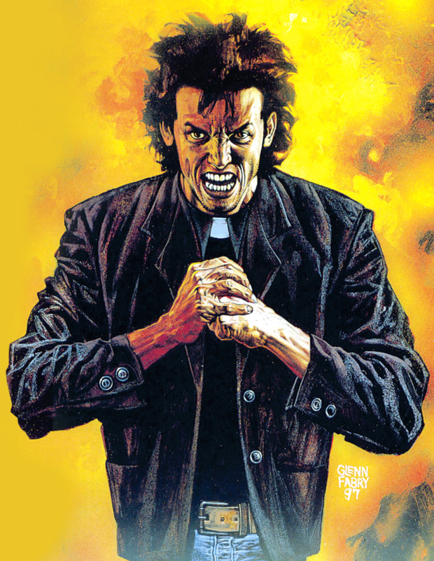 The graphic novel character Preacher, as depicted by Co Down comic book writer Garth Ennis, who will feature in a TV show to be screened in the USA this summer